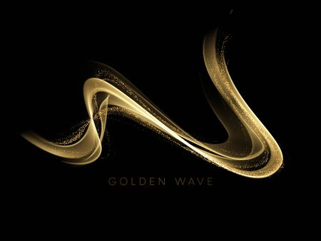 Abstract shiny color gold wave design element with glitter effect on dark background. Vector illustration EPS10 Vettoriali