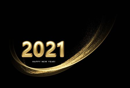 2021 realistic golden 3d inscription on the background of gold glitter confetti wave. Vector illustration EPS10