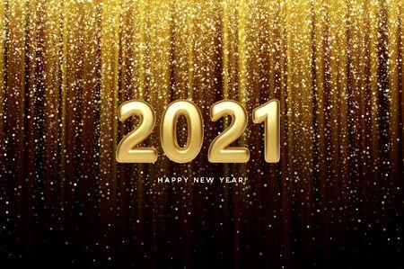2021 realistic golden 3d inscription on the background of gold glitter confetti. Vector illustration EPS10 Vettoriali