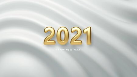 2021 realistic golden 3d inscription on the background of white silk wave. Vector illustration EPS10