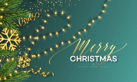 Christmas banner. Realistic Sparkling garland lights with gold snowflakes and golden tinsel on a background with Christmas tree sprigs. Vector illustration
