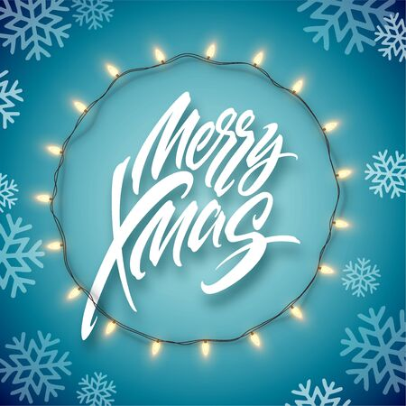 Christmas electric garland of light bulbs and merry christmas lettering on a blue background with snowflakes. Vector illustration Vettoriali