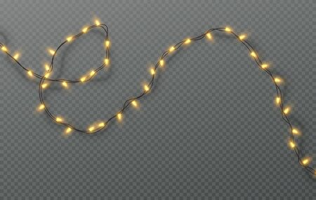 Christmas electric garland of light bulbs isolated on a transparent background. Vector illustration
