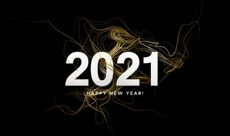 2021 inscription on the background of gold glitter confetti wave. Vector illustration Vettoriali
