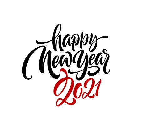 2021 Happy New Year writing calligraphic lettering on a white background. Vector illustration