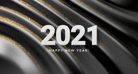 2021 realistic golden 3d inscription on the background of black silk wave. Vector illustration