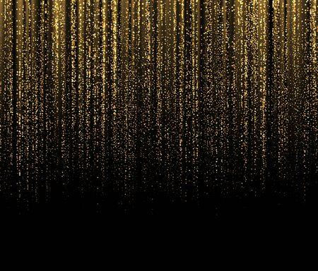 Black Background with falling golden sparkles glitter. Background for decoration festive design. Vector illustration