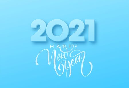 2021 Happy new year brush lettering on the blue background. Vector illustration