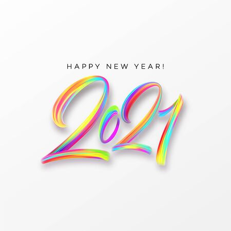 Colorful Brushstroke paint lettering calligraphy of 2021 Happy New Year background. Vector illustration