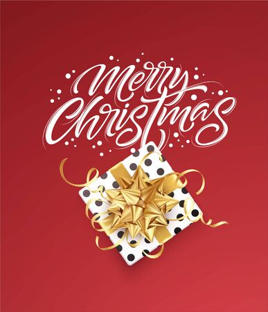 White lettering Merry Christmas on a red background with a gift box and a golden bow. Design template for banner, voucher, poster, flyer. Vector illustration