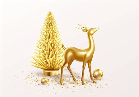 Merry Christmas and Happy New Year Background with realistic holiday decorations. Vector illustration EPS10 Vettoriali