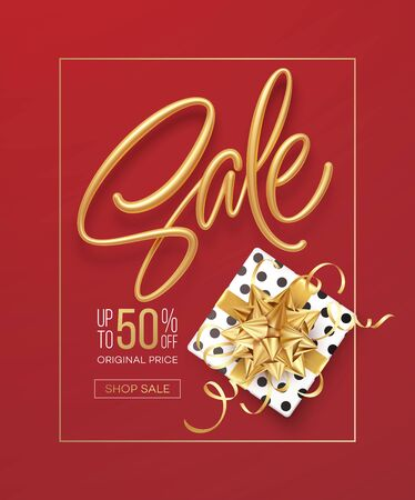 Realistic metallic gold inscription Sale on the background with a gift box and a golden bow. Design template for banner, voucher, poster, flyer. Vector illustration Vettoriali