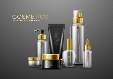 Set of mockup template white, black and glass cosmetic bottles with gold caps isolated on a dark background. Real transparency effect. Vector illustration