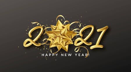 Happy New Year Realistic gold inscription 2021 with gift golden bow and gold tinsel on a black background. Vector illustration EPS10 Vettoriali