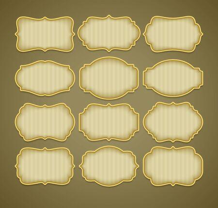 Set of vintage gold label frames. Vector illustration EPS10 Vettoriali
