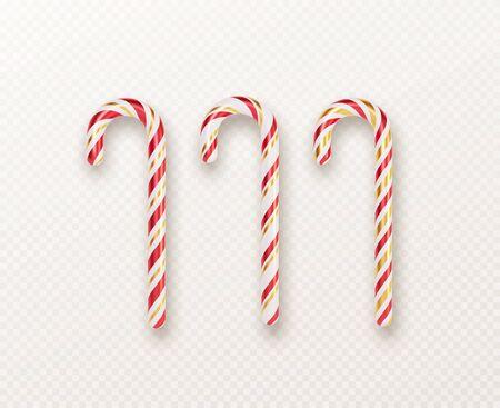 Realistic Xmas candy cane set isolated on white backdrop. Vector illustration Vettoriali