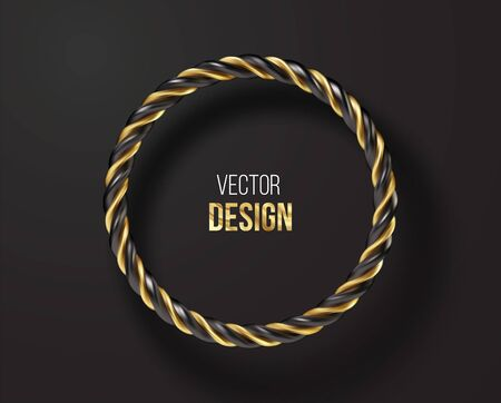 Black and golden striped round frame isolated on black background. Vector illustration Vettoriali