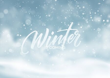 Christmas winter snowy landscape background. Winter snow dust background. Vector illustration EPS10