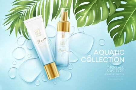 Cosmetics on blue water drop background with tropical palm leaves. Face cosmetics, body care banner, flyer template design. Vector illustration