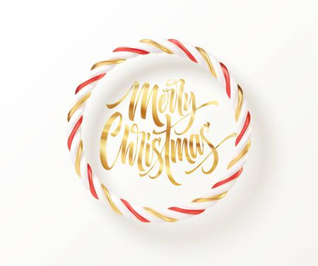Christmas candy striped red, golden and white round frame with a gold inscription Merry Christmas. Vector illustration EPS10