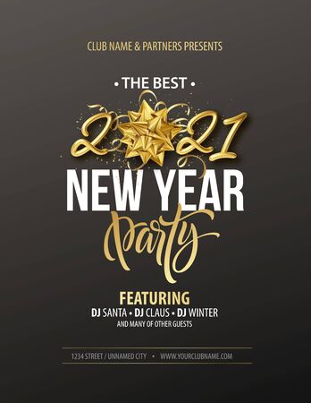 New Year party typography poster with 2021 gold realistic inscription, gift bow, golden tinsel and golden confetti on a black background. Vector illustration