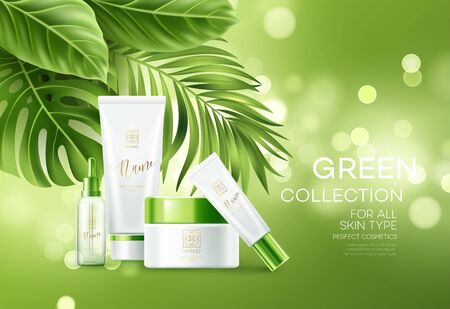 Cosmetics on green bokeh background with tropical palm leaves. Face cosmetics, body care banner, flyer template design. Vector illustration