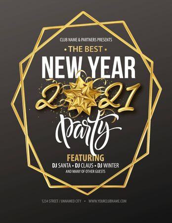 New Year party typography poster with 2021 gold realistic inscription, gift bow, golden frame and golden confetti on a black background. Vector illustration
