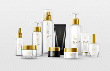Set of mockup template white, black and glass cosmetic bottles with gold caps isolated on a white background. Real transparency effect. Vector illustration Vettoriali