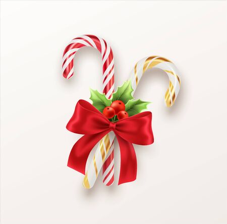 Realistic Xmas candy cane with red bow and a sprig of Christmas holly isolated on white backdrop. Vector illustration EPS10
