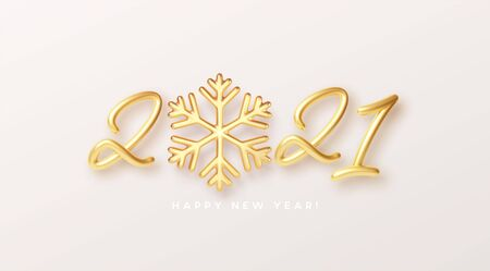 Gold realistic metallic text 2021 with golden snowflake. Vector illustration Vettoriali