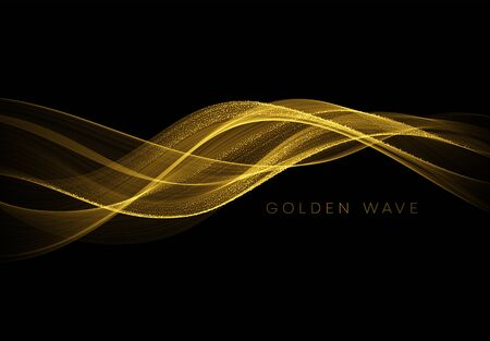 Abstract shiny color gold wave design element with glitter effect on dark background. Vector illustration EPS10  イラスト・ベクター素材