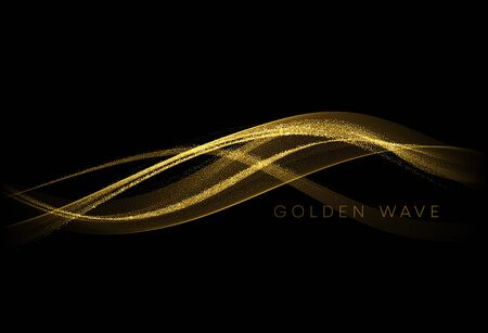 Abstract shiny color gold wave design element with glitter effect on dark background. Vector illustration  イラスト・ベクター素材
