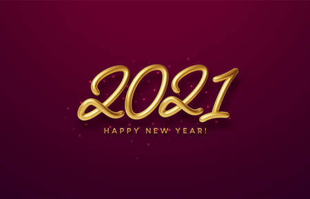 Realistic shiny 3D golden inscription 2021 happy new year on a with red background. Vector illustration Illustration