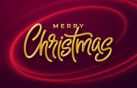 Realistic shiny 3D golden inscription Merry Christmas on a background with red bright waves. Vector illustration Illustration