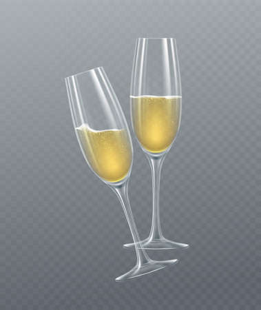 Realistic glasses of champagne isolated on a transparent background. Vector illustration EPS10