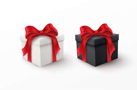 White and Black gift box with red silk bow isolated on a white background. Vector illustration EPS10