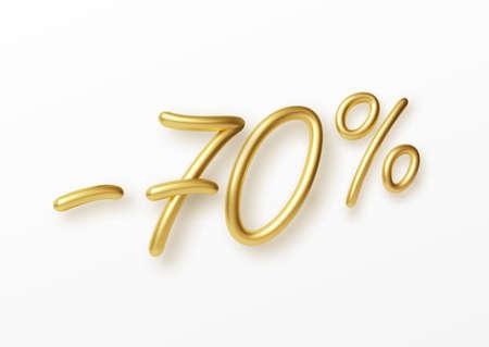 Realistic golden text 70 percent discount number. Vector illustration EPS10