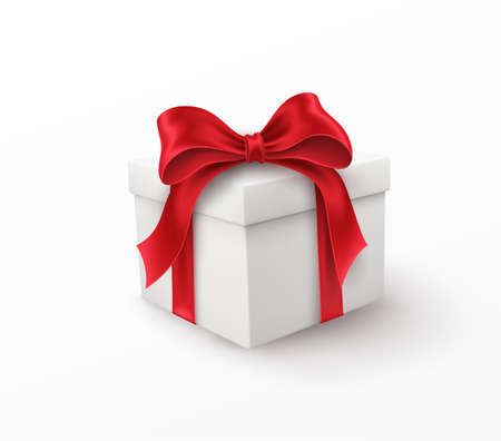 White gift box with red silk bow isolated on a white background. Vector illustration EPS10
