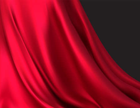Background of luxurious red fabric or liquid wave or wavy folds of silk texture of satin velvet material, luxurious background or elegant wallpaper. Vector illustration EPS10 Illustration