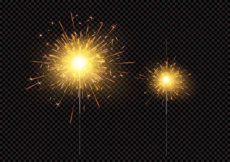 Bright shiny sparkling Bengal light fireworks isolated on black background. Vector illustration EPS10