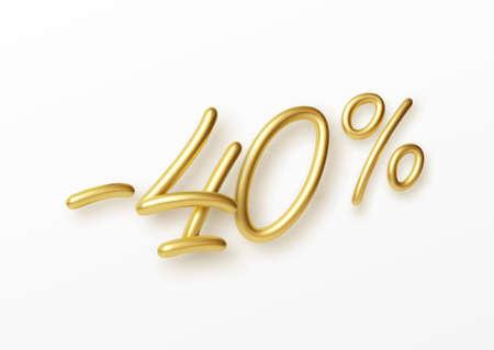 Realistic golden text 40 percent discount number. Vector illustration EPS10