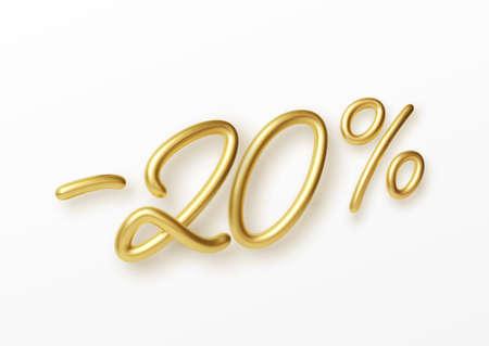 Realistic golden text 20 percent discount number. Vector illustration EPS10 Illustration