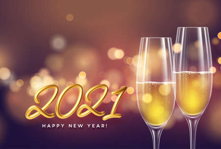 2021 New Year background with a bottle and glasses of champagne and glowing bokeh light. Vector illustration EPS10 Illustration