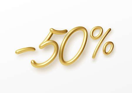 Realistic golden text 50 percent discount number. Vector illustration EPS10