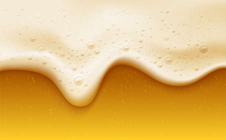 Realistic beer foam with bubbles. Beer glass with a cold drink. Background for bar design, oktoberfest flyers. Vector illustration EPS10