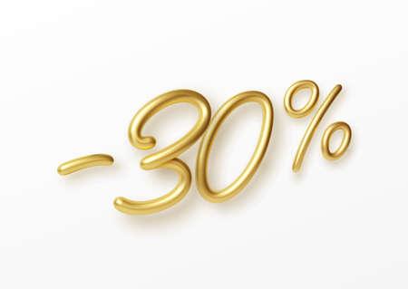 Realistic golden text 30 percent discount number. Vector illustration EPS10 Illustration