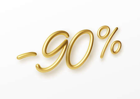 Realistic golden text 90 percent discount number. Vector illustration EPS10