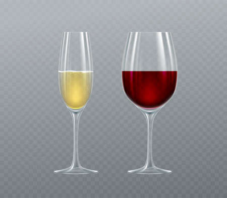Realistic glasses of Champagne and Wine isolated on a transparent background. Vector illustration EPS10