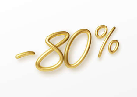 Realistic golden text 80 percent discount number. Vector illustration EPS10 Illustration