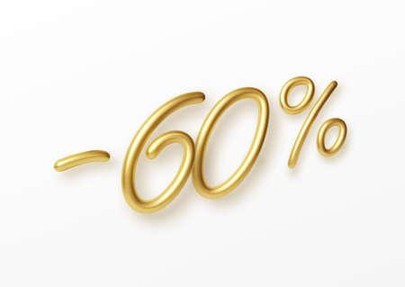 Realistic golden text 60 percent discount number. Vector illustration EPS10